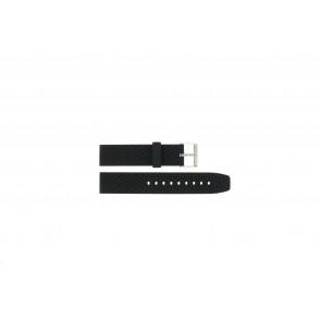 Watch strap PU102 Rubber / plastic Black 20mm