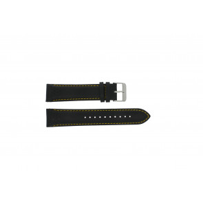 Pulsar watch strap VK63-X001 / PP077X Leather Black 22mm + yellow stitching