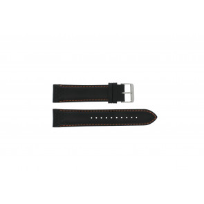 Pulsar watch strap VK63-X001 / PU2071X1 Leather Black 22mm + orange stitching