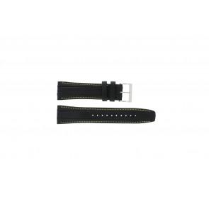 Seiko watch strap 7T62-0HL0 / SNAB57P1 / 4LP3JB Leather Black 24mm + yellow stitching