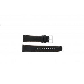 Seiko watch strap 7T62-0HL0 / SNAB59P1 / SNAB59JC / SNAB59J1 Leather Black 24mm + orange stitching