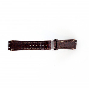 Genuine leather watch strap for Swatch croco brown 19mm ES- 2.02