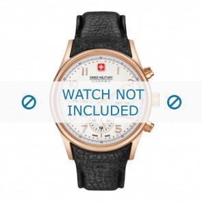 Swiss Military Hanowa watch strap 06-4278.09.001 Leather Black + black stitching