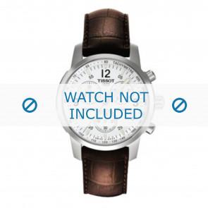 Tissot watch strap T361.461 PRC-200 - T600013367 Croco leather Brown 19mm + brown stitching