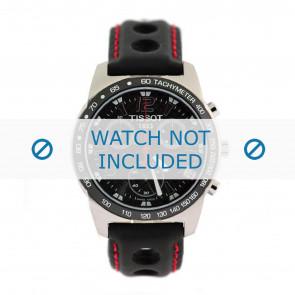 Tissot watch strap J378-478 PR-50 - T600020323 Leather Black 19mm + red stitching