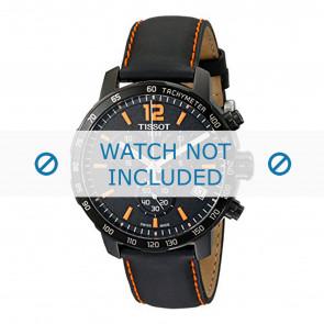 Tissot watch strap T095.417.360.570.0 - T600035367 / T095.417.A Leather Black 19mm + orange stitching