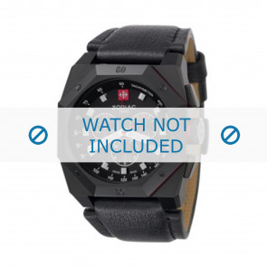Zodiac watch strap ZO1800 Leather Black + black stitching