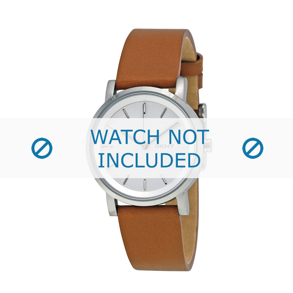 20426f903 DKNY watch strap NY-2339 Leather Brown 18mm