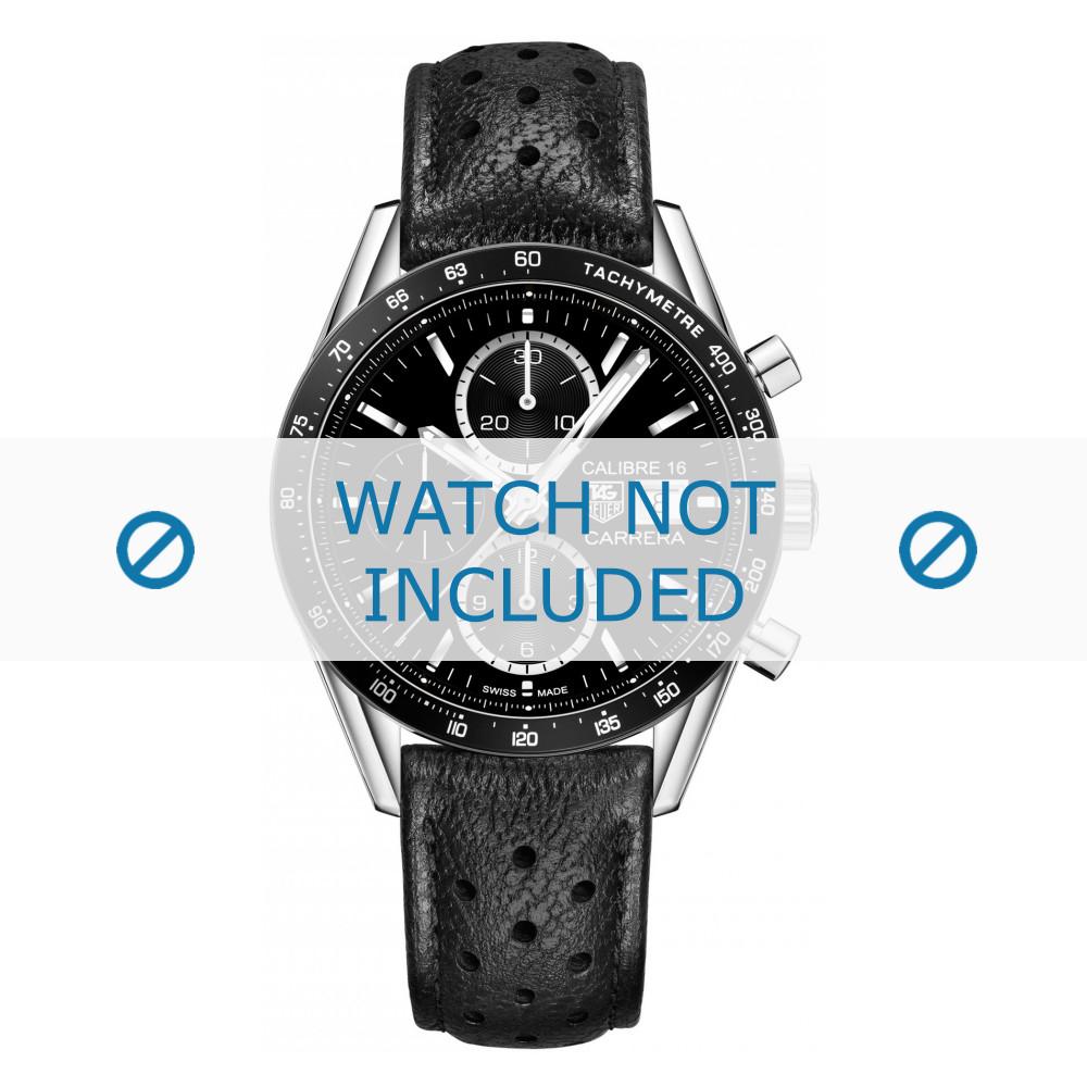 finest selection 8f316 af18b Tag Heuer watch strap CV201AJ-FC6357-12 Leather Black + black stitching