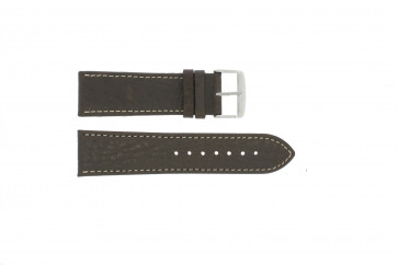 Watch strap 307.02 Leather Brown 18mm + white stitching
