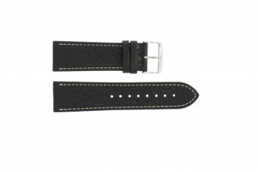 Watch strap 307.01 Leather Black 24mm + white stitching