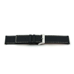 Genuine leather watch band black with white stitching 30mm J43