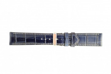 Genuine leather watch strap croco dark blue 20mm 61324