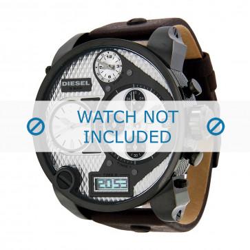 Watch strap Diesel DZ7126 Leather Dark brown 29mm