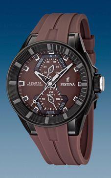 Festina watch strap F16612/2 Rubber Brown 18mm