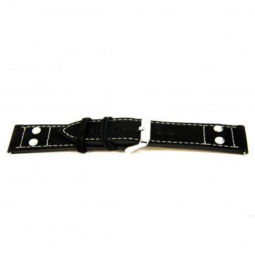 Genuine leather black 24mm ''coarse structure'' EX-K469