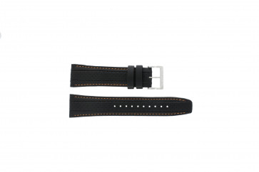 Seiko watch strap 7T62-0HL0 / SNAB59P1 / SNAB59JC / SNAB59J1 Leather Black 24mm + orange stitching
