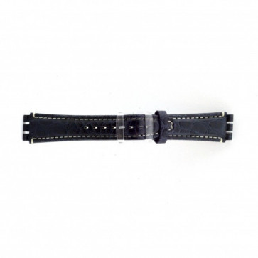 Genuine leather watch strap for Swatch croco blue 19mm ES- 2.05