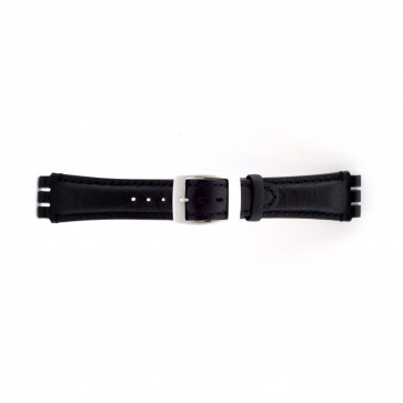 Watch strap Swatch SC14.01 Leather Black 19mm