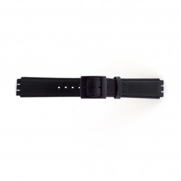 Watch strap Swatch SC11.01 Leather Black 17mm