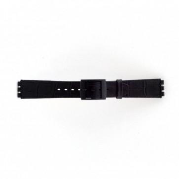Watch strap Swatch SC16.01 Leather Black 16mm