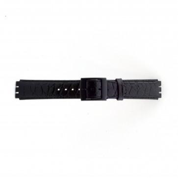 Watch strap Swatch SC10.01 Leather Black 17mm