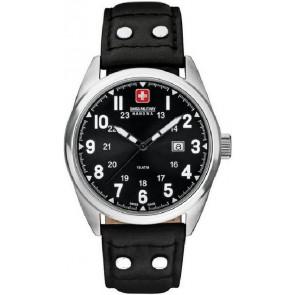 Watch strap Swiss Military Hanowa 06-4181.04.007 Leather Black 22mm
