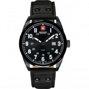 Watch strap Swiss Military Hanowa 06-4181.13.007-Buckle-Studs-Black Leather Black 22mm