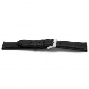 Watchband real Alligator leather black 22mm EX-H134