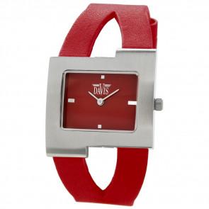 Watch strap Davis BB1404 Leather Red 10mm