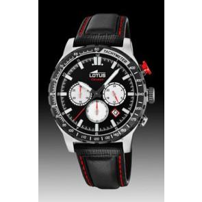 Watch strap Lotus 18587-1 / 18587-4 Leather Black 22mm