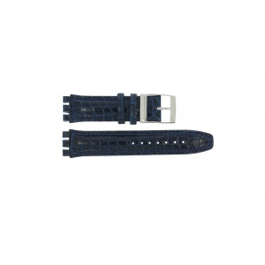 Watch strap Swatch 247.11M Leather Blue 20mm