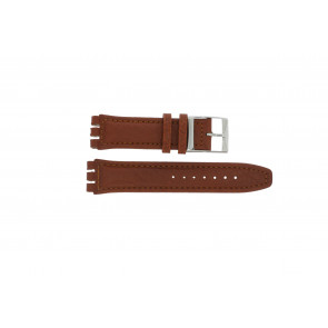 Watch strap Swatch 247.02PL Leather Brown 20mm