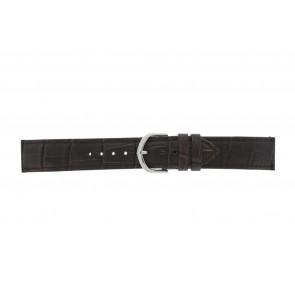 Olympic watch strap 26HSL057 Leather Dark brown 20mm + standard stitching