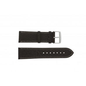 Watch strap 307.02 XL Leather Brown 24mm + white stitching