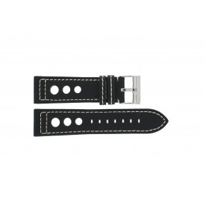 Leather watchstrap with holes 24mm black 423F