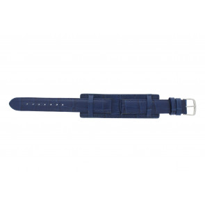 Watch strap 61325.55.16 Leather Blue 16mm + blue stitching