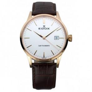 Watch strap Edox 70162 / 493467 Leather Dark brown 20mm