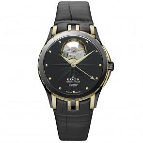 Watch strap Edox 85012 Leather Black