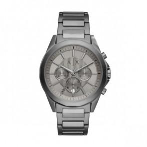 Watch strap Armani Exchange AX2603 Steel Anthracite grey 22mm
