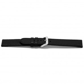 Watch strap B113Z Leather Black 10mm + black stitching