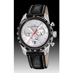 Candino watch strap C4429-1 Leather Black + white stitching