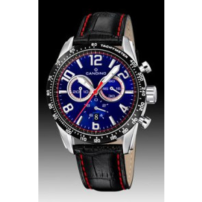 Candino watch strap C4429-2 Leather Black + red stitching