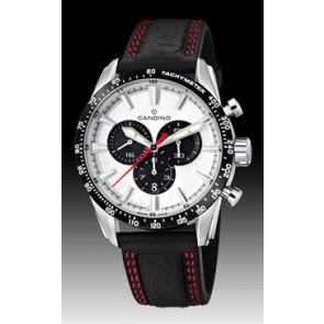 Candino watch strap C4429-4 Leather Black + red stitching