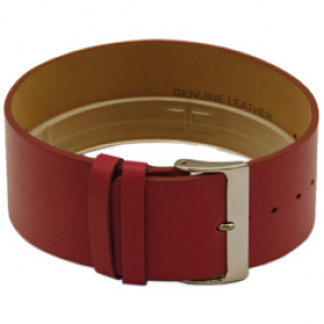 Leather watch strap one piece 28mm red CCC.1037