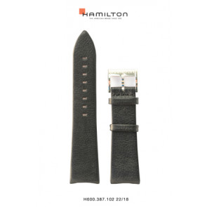 Watch strap Hamilton H38755731 Leather Black 22mm