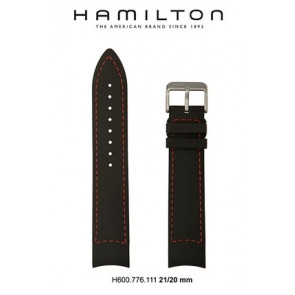 Watch strap Hamilton H776350 / H001.77.635.333.01 Leather Black 21mm