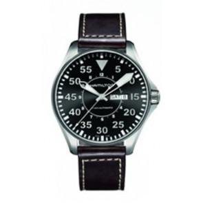 Watch strap Hamilton H64715535 Leather Dark brown 22mm