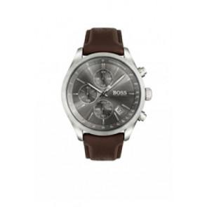 Watch strap Hugo Boss HB-297-1-14-2956 / HB659302764 Leather Dark brown 22mm