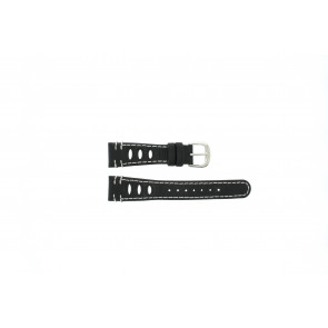 Lorus watch strap 19x14 Leather Black 19mm + white stitching